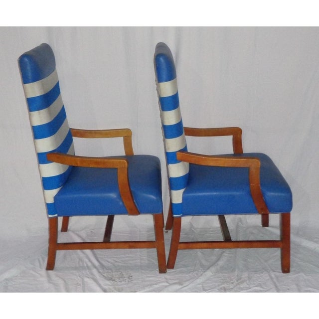 Nautical Themed Leather & Canvas Chairs - Set of 4 - Image 4 of 6