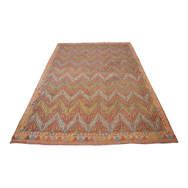 "Antique Turkish Kilim Rug Hand Woven Wool Jajim Braided Area Rug - 5'6"" X 8'3"" For Sale"