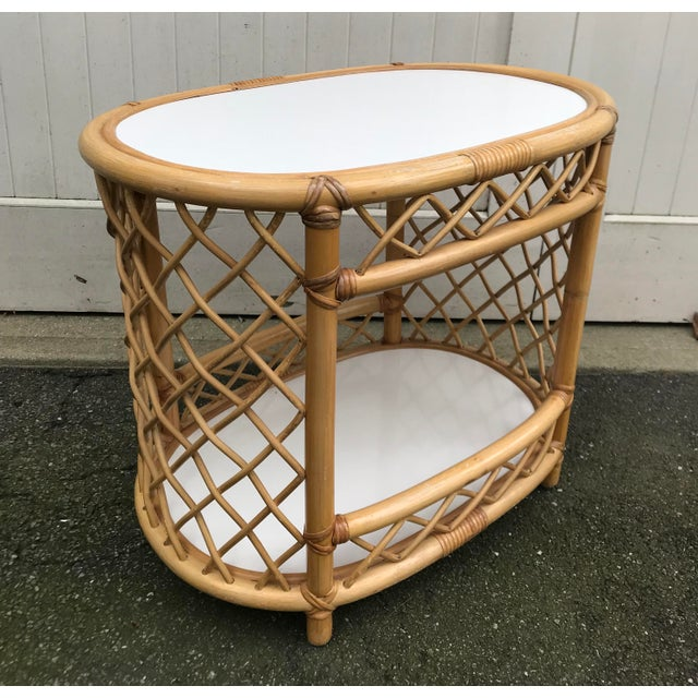 Vintage Willow and Reed Oval Bamboo 2 Tiered Side Table with White Laminate. The perfect side table. Unmarked.