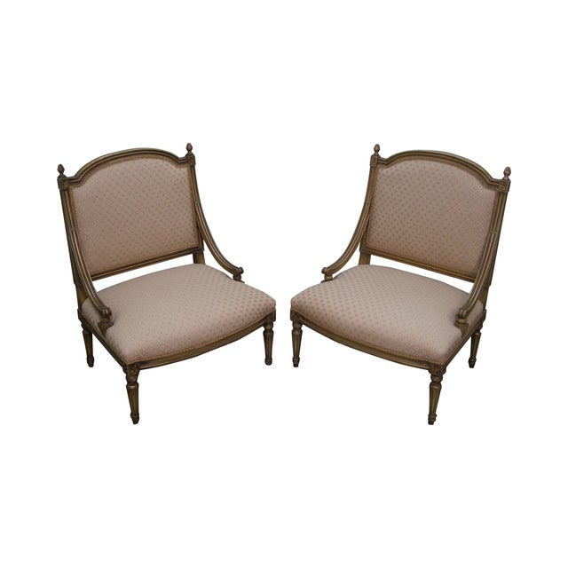 Quality French Louis XV Painted Slipper Chairs - 2 For Sale