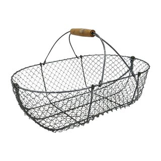 Large Vintage French Oyster Basket For Sale