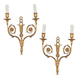 Louis XVI Style 19th Century Gilt Bronze Sconces - a Pair For Sale