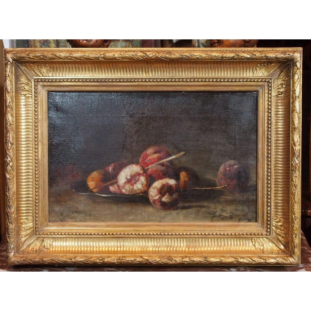 Late 19th century French oil on canvas. Beautiful design of a plate of peaches with a knife. Signed bottom right corner...