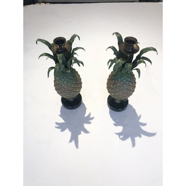 Neoclassical Tole and Brass Pineapple Candlesticks - a Pair For Sale - Image 3 of 10