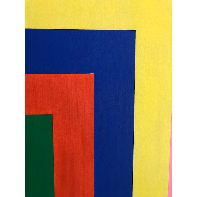 Available for sale: a great architectural op art painting. Acrylic on canvas. Original frame Amazing composition and...