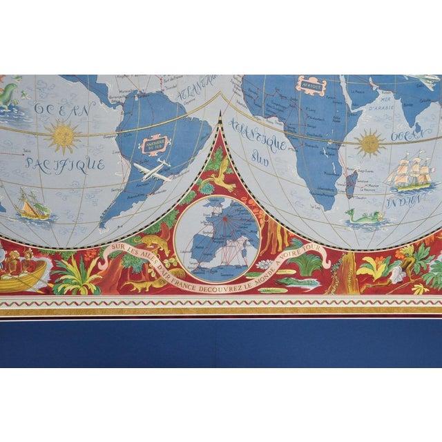 "Large Framed 1952 Lucien Boucher ""Air France"" World Map Framed Poster Planisphere For Sale - Image 10 of 12"