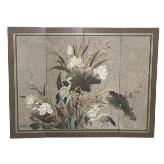 Vintage Hand Painted Asian Screen, Signed For Sale