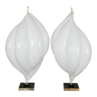 Rougier Acrylic Table Lamps 1970's White For Sale
