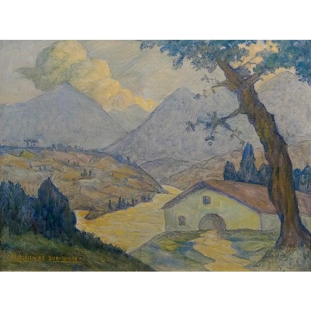 Figurative Valentin De Zubiaurre Jr -Spanish Basque Landscape -Oil Painting For Sale - Image 3 of 9