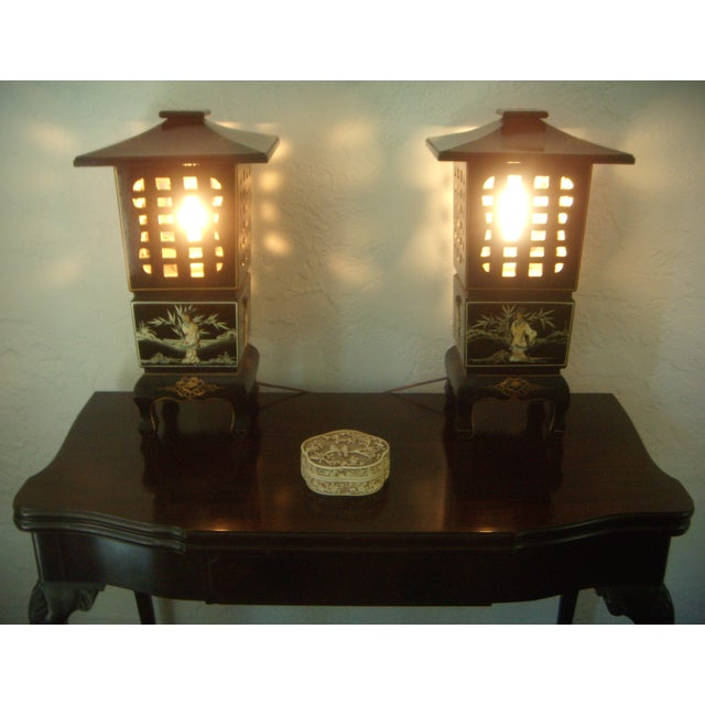 Green Vintage Lacquered Chinese Lanterns - A Pair For Sale - Image 8 of 9