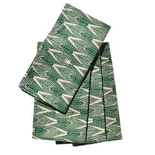 African Wax Formal Cloth Dinner Napkins in Green Block Print - Set of 4 For Sale