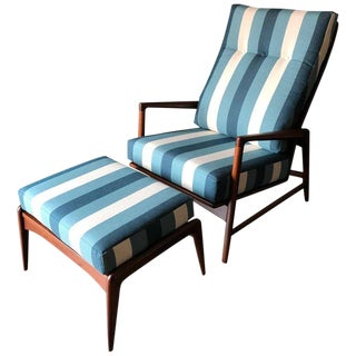 1960s Vintage I.B. Kofod Larsen for Selig Reclining Chair & Ottoman - 2 Pieces For Sale