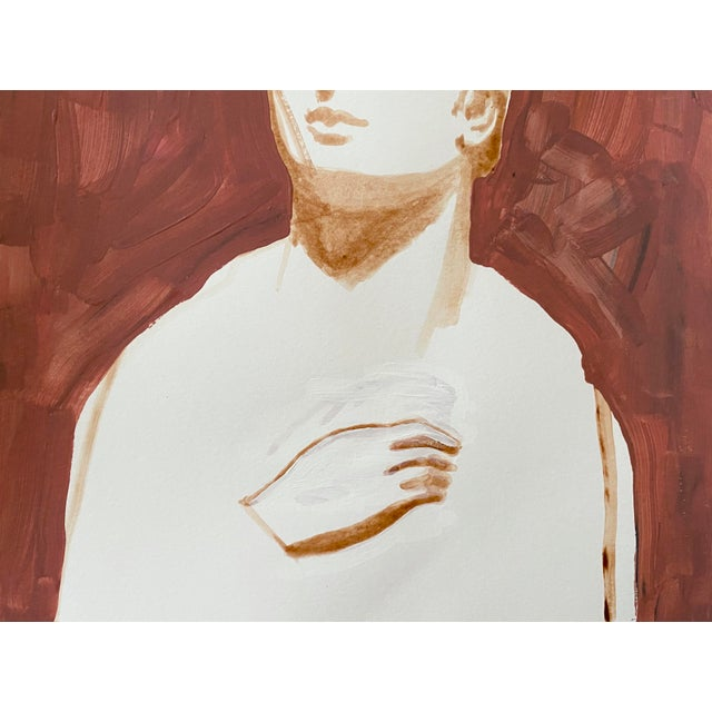 2020s Ancient Roman Woman Sculpture Painting, Acrylic on Paper For Sale - Image 5 of 9