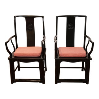 Black Lacquer Chinese Arm Chairs - Pair