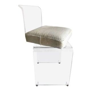 Lucite & Cowhide Seat Vanity Stool