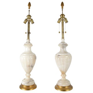 Pair of Large Urn Form Alabaster Lamps For Sale