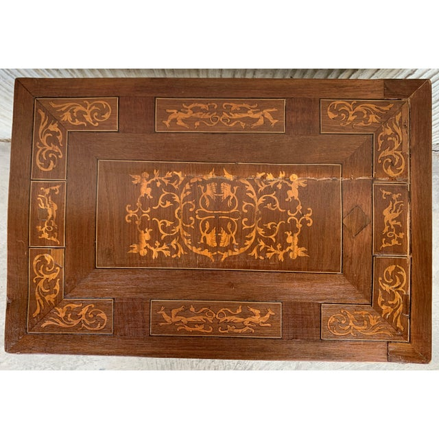 19th Century Baroque Spanish Side Table With Marquetry Top & Turned Legs For Sale In Miami - Image 6 of 13