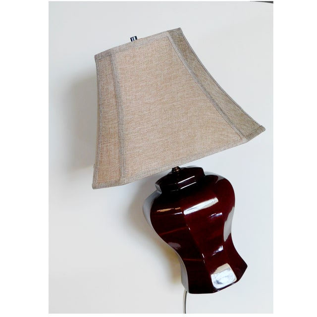 Traditional Mid-Century Deep Umber Lamp For Sale - Image 3 of 9