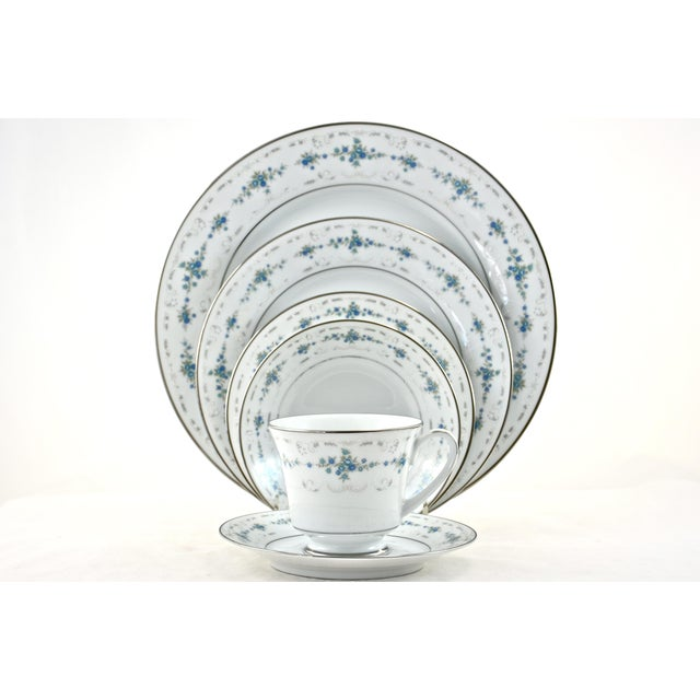 Noritake Noritake Silver & Blue Floral Dinner Service- 77 PIeces For Sale - Image 4 of 8