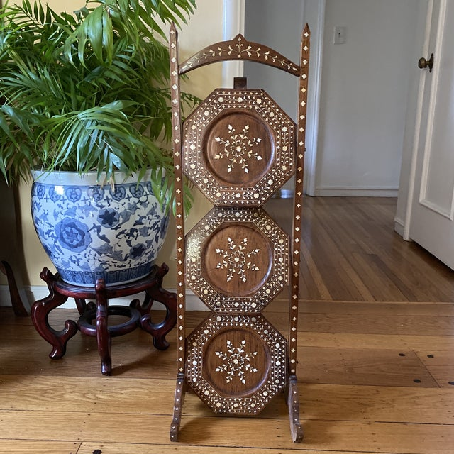 Anglo Indian Bone Inlaid Cake Stand For Sale - Image 11 of 13
