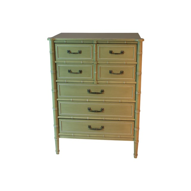 Vintage Faux Bamboo Tall Dresser - Image 1 of 3