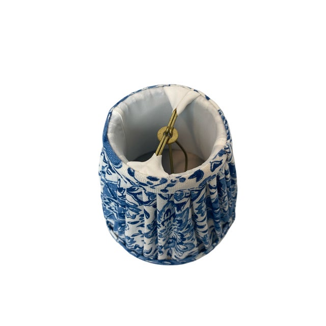 Farmhouse Heath & Company Blue Floral Chandelier Shade For Sale - Image 3 of 7