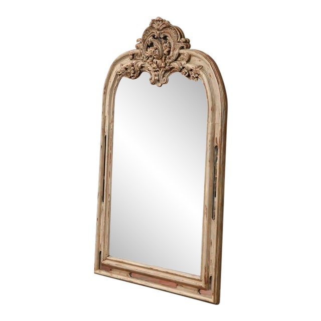 Early 19h Century French Régence Carved Painted and Gilt Mirror From Lyon For Sale