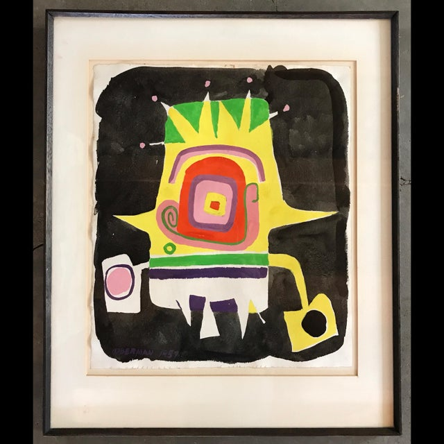 A rare Norman Hoberman abstract mixed media painting. His artwork rarely comes to market. In good condition. I have not...