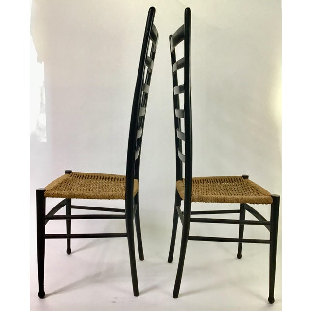 Mid-Century Modern Gio Ponti Ladder Back Chairs - a Pair For Sale - Image 3 of 9