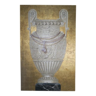 Pair of Monumental Painted Neoclassical Style Paintings-Urns For Sale