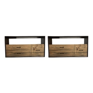 Vintage Custom Solid Elm & Walnut Consoles - A Pair For Sale