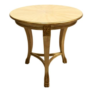 Round Gilt Accent Side Table For Sale