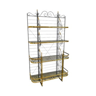 French Black Wrought Iron & Brass Vintage Baker's Rack For Sale