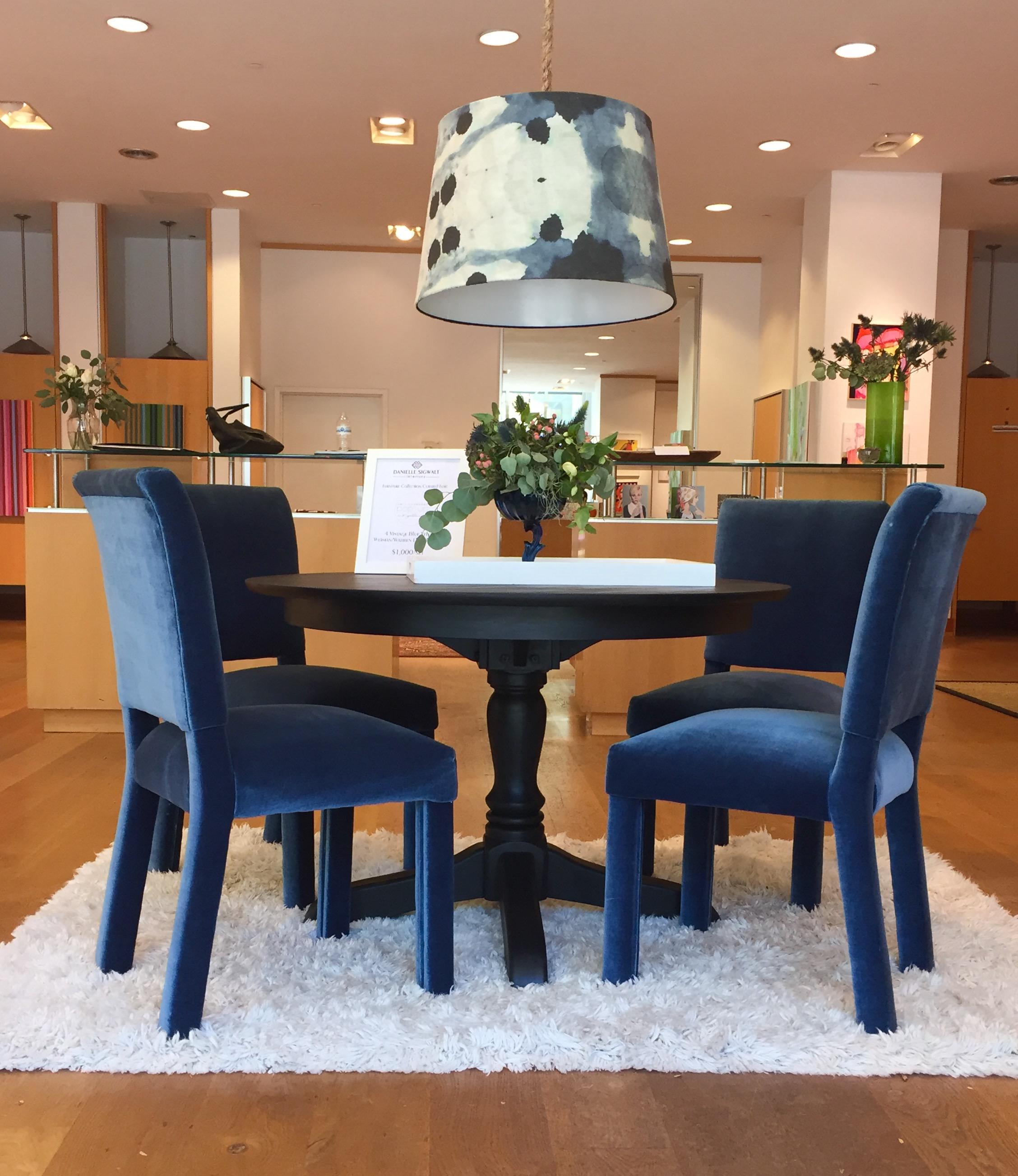 Weiman/Warren Lloyd Navy Blue Mohair Velvet Parsonu0027s Chairs   Set Of 4    Image