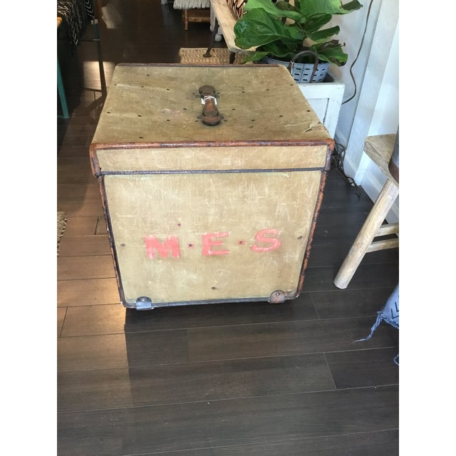 Early 20th Century 20th Century Rustic Leather and Canvas Trunk For Sale - Image 5 of 13