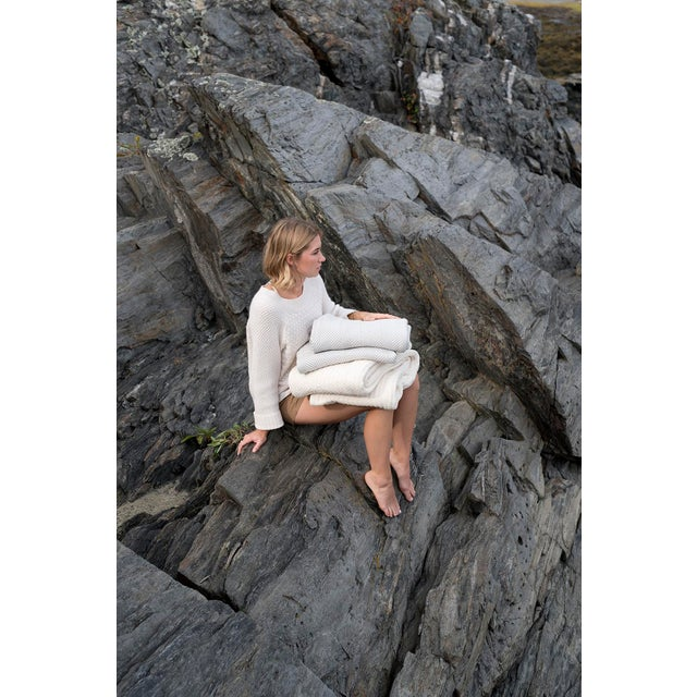 Contemporary Contemporary Herringbone Blanket Bright White Twin Blanket For Sale - Image 3 of 5