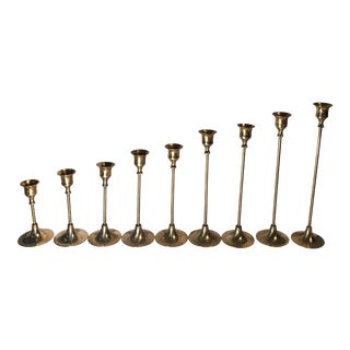 Tall Brass Candle Holders - Set of 9