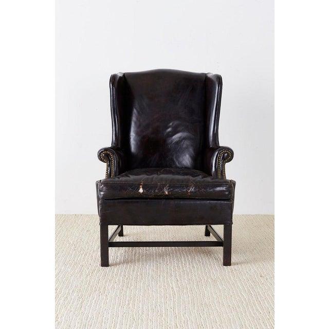 Georgian English Georgian Style Black Leather Wingback Armchair For Sale - Image 3 of 13