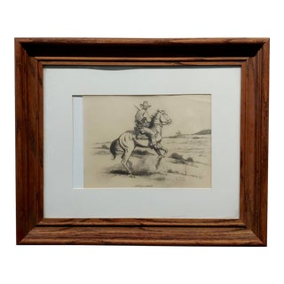 Ted Littlefield -Gunfighter on Horse - Original 1950s Drawing on Paper For Sale
