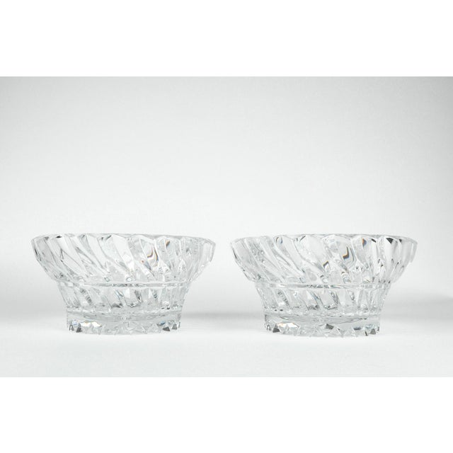 Transparent Vintage Pair Heavy Cut Crystal Bowl For Sale - Image 8 of 11