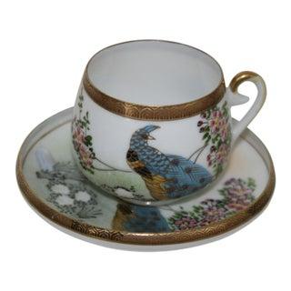 Vintage Kutani Japan Hand Painted Porcelain Peacock With Sakura Tea Cup and Saucer For Sale