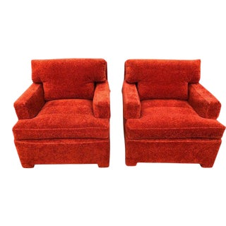 1950's Mid-Century Modern Edward Wormley for Dunbar Rust Orange Lounge Chairs-A Pair For Sale