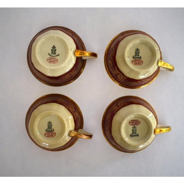 Metal Heinrich and Co. Selb H & C Bavaria German Porcelain Red and Gold Encrusted Tea Cup and Saucer - Service for 4 For Sale - Image 7 of 12