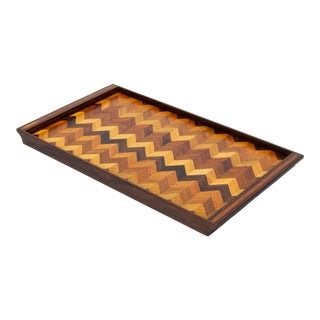 Inlaid Tray With Chevron Pattern by Don Shoemaker for Senal For Sale