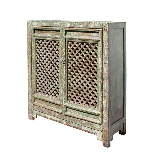 Chinese Distressed Green Carving Storage Open Panel Doors Cabinet