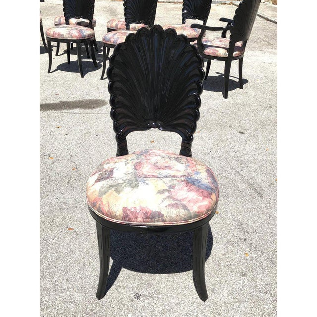 1940s Vintage Italian Ebonized Venetian Grotto Shell Back Dining Chairs- Set of 8 For Sale - Image 12 of 13