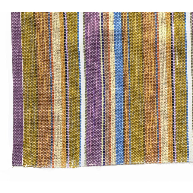 Swedish Handwoven Lilac & Green Rug - 4′3″ × 7′4″ - Image 6 of 7