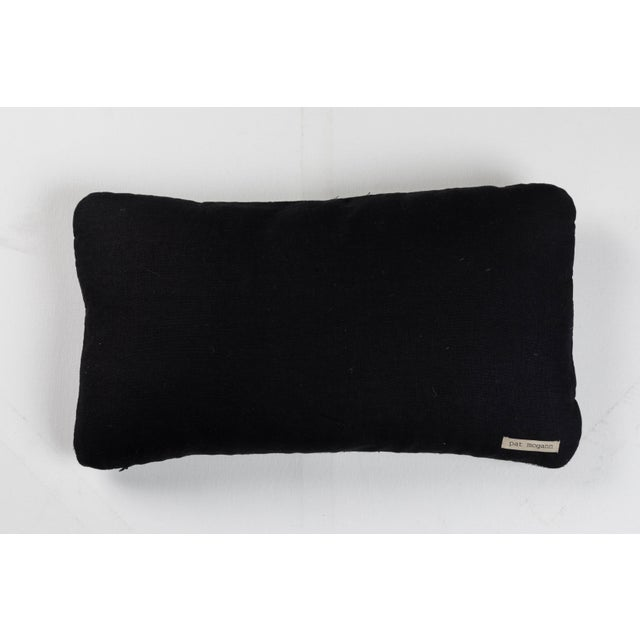 Indian Handwoven Pillow Sm. Ocean Stripe Blk/Wht For Sale - Image 4 of 5