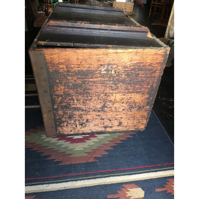 Industrial Antique Zinc Lined Wood Icebox For Sale - Image 3 of 8