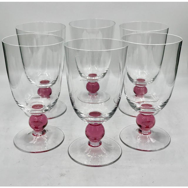 Murano Vintage Mid Century Crystal Murano Ball Stem Cocktail or Wine Glasses- Set of 6 For Sale - Image 4 of 4